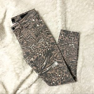 Guess Brittney Animal Print Skinny Cropped Jeans